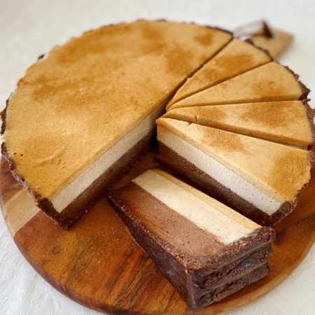 Chai spiced vanilla and chocolate mousse cheesecake with a cinnamon spiced caramel