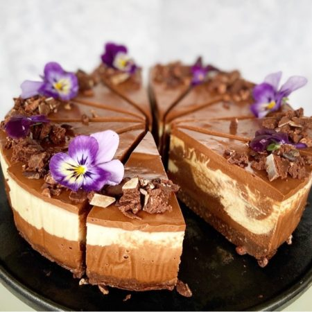 Triple chocolate and vanilla mousse cheesecake